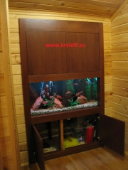 011 Облицовка аквариума деревом по индивидуальному проекту