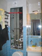 033 Дверка в проем для труб в ванной комнате белая на заказ из мдф